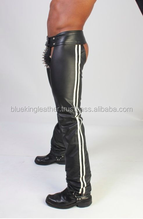 Black Men's Genuine Leather Motorcycle Chaps/Gay Stlye