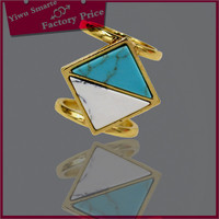 2016 trends rings jewelry fashion women's gold plated silver turquoise stone ring