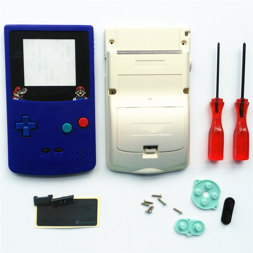 For GBC Mario Version Blue & Golden Housing Shell For GBC Housing Case Pack