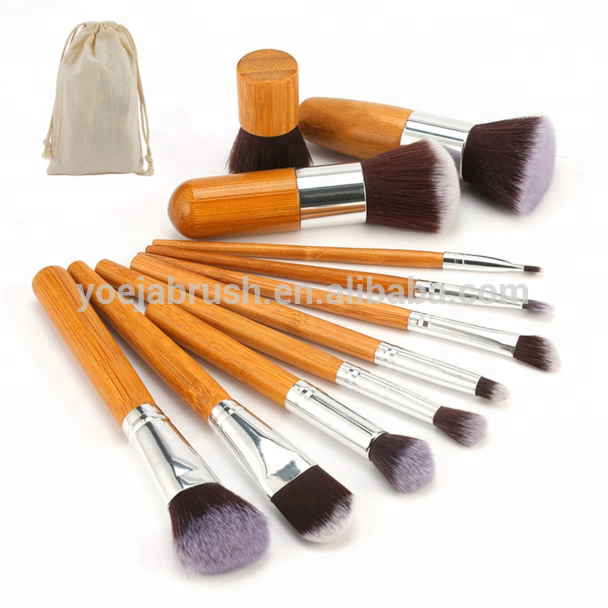 Hot Sale Cosmetic Brush Synthetic Bamboo Makeup Brush Set 11Pcs With Bag