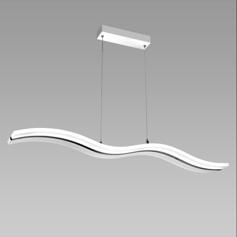 Linear Wavy Dining Room LED Chandelier, Remote Control Chandelier LED Lamp for the House MD3026W