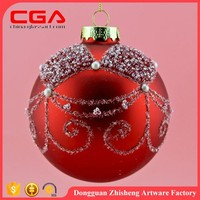 wholesale Custom hand painted glass 10CM christmas ball for christmas tree decoration