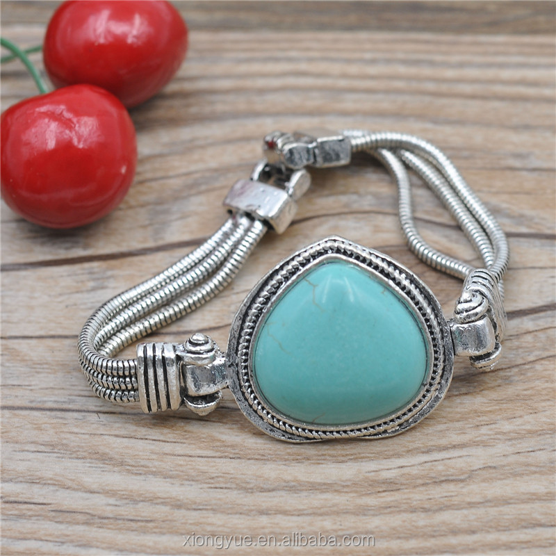 2015 high quality natural stone gem beads turquoise silver bracelet men