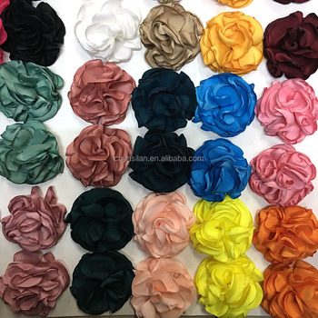 2inch Satin Burned Rolled Rosette Flower Satin Hair Flower IN STOCK