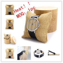 Unique Wood Face Metal Back Watch Japan Quartz Wrist Watches