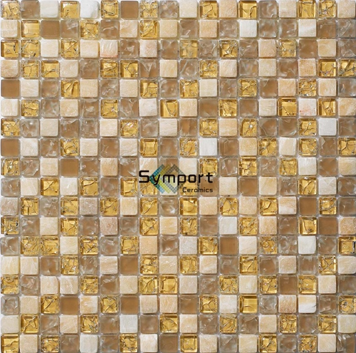 15x15mm Factory Yellow Swimming Pool Tiles And Decorative Wall Crystal Gold Color Glass Mosaic Tile