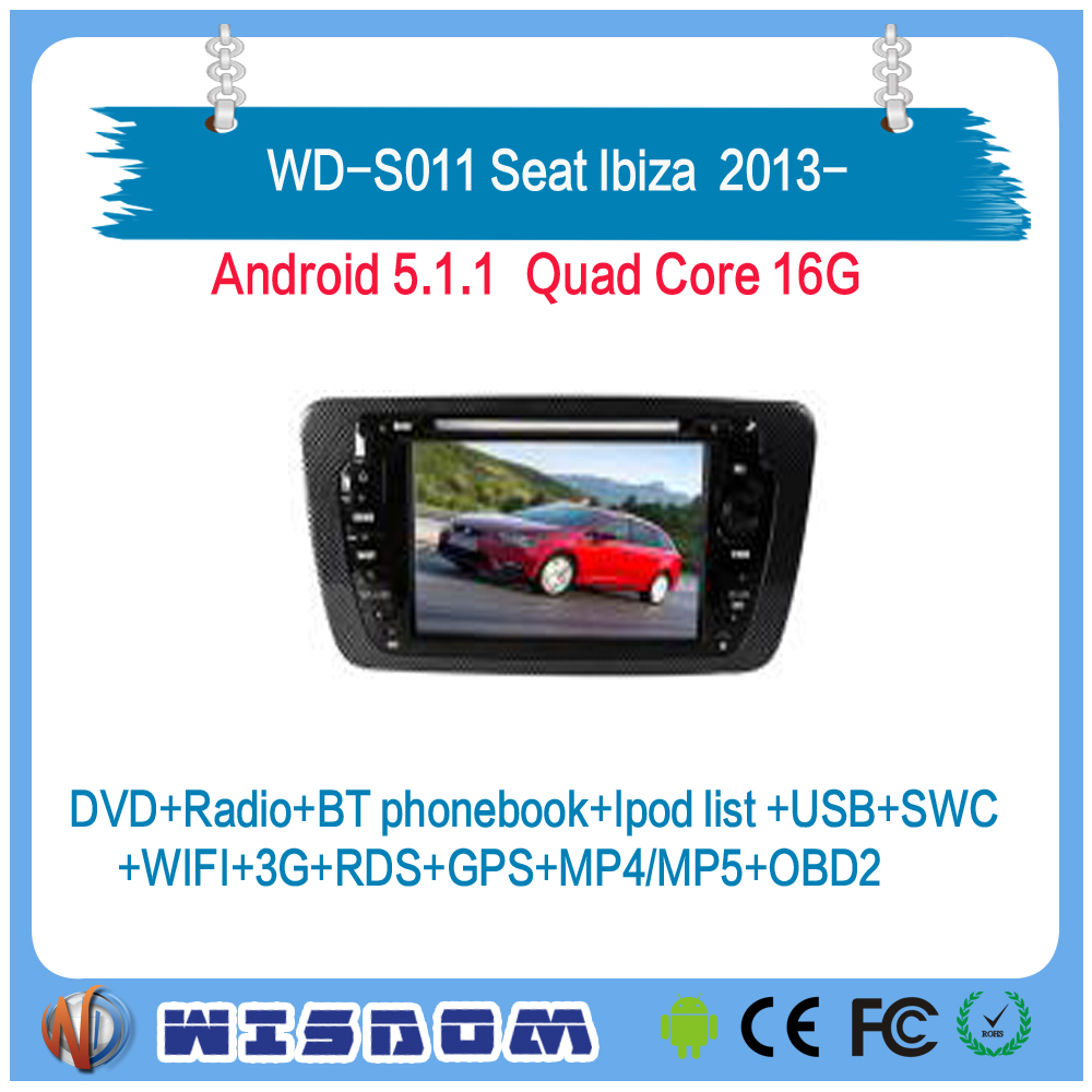 Best price car radio for Seat Ibiza 2013 2014 2015 2016 dvd player android system 7'' with rear camera free maps all sets canble
