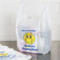 Recyclable White Plastic Carry Out Shopping Bags Smile face 26 x 40cm Pack of 100