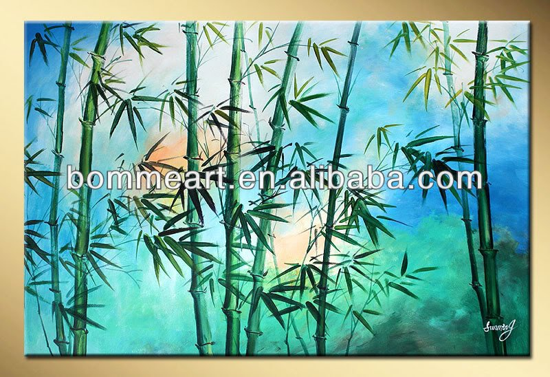 "Art works hand-painted Green bamboo decorative landscape oil painting on canvas 16""X20"""
