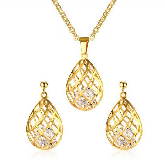 Hot sale 36MM cz cage gold chain necklace pendant designs&cage earring