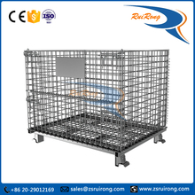 fodable rigid warehouse stackable metal box/mesh storage cage