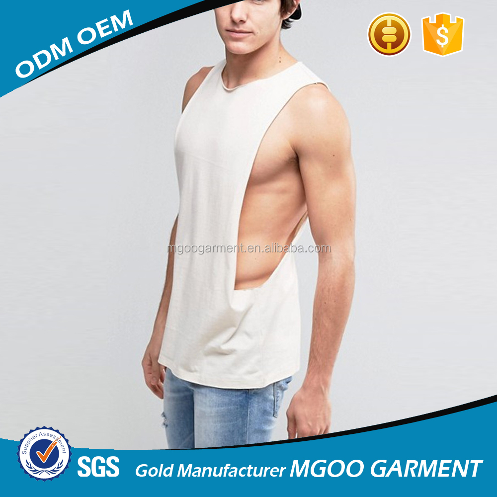 Oversized Gym Sleeveless T-Shirt With Extreme Dropped Armhole Plain Tank Top With Crew Neck Basic Tank