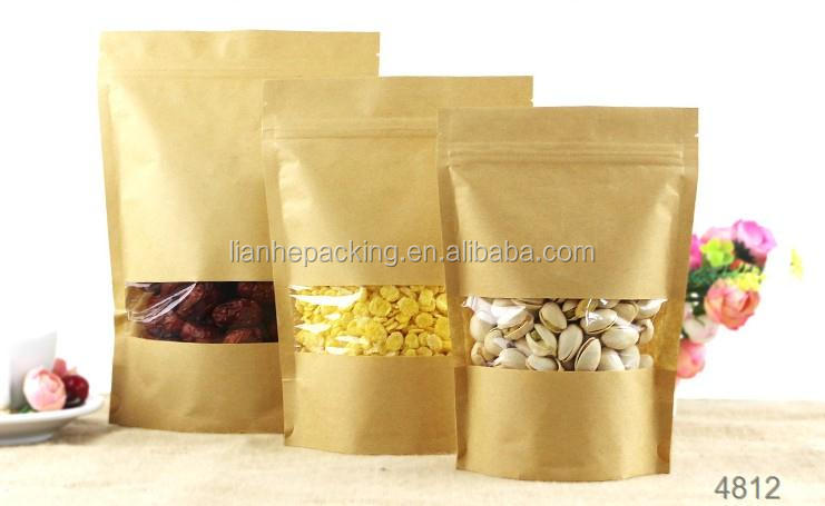 No print plain kraft paper standup pouch with window and zipper for dried fruit crisp packing