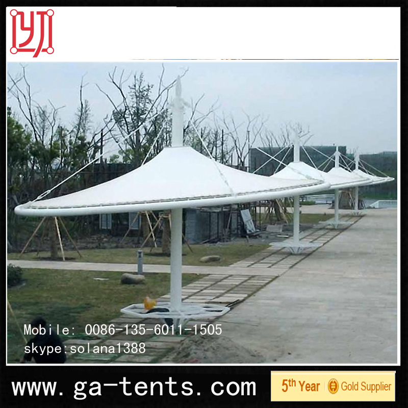 China factory PVDF Cover Q235 Steel auto waterproof camping folding tent Guarantee year 10years permanent structure