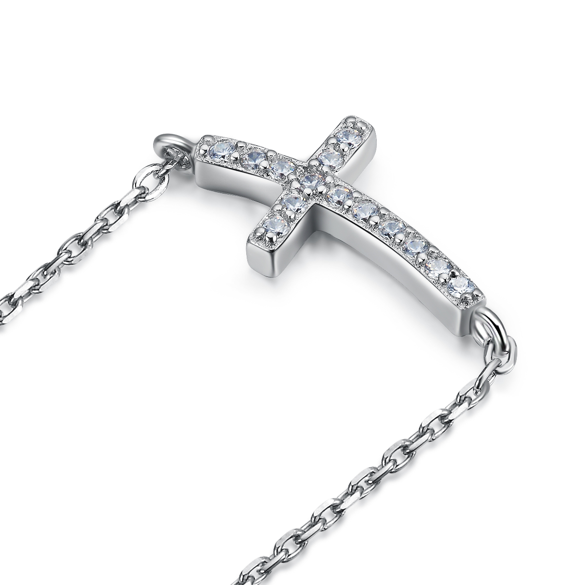 Wholesales Small Diamond Unique Cross Necklace