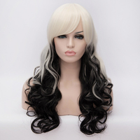 White&Black Gradient Color Curly Long Hair Heat Resistant Synthetic Wavy Wig Halloween Costume Party Cosplay Wig