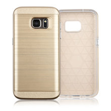 C&T Hybrid Dual Layer Soft TPU Silicone Inner Skin + Brushed Metal Texture Hard PC Back Case for Samsung Galaxy S7