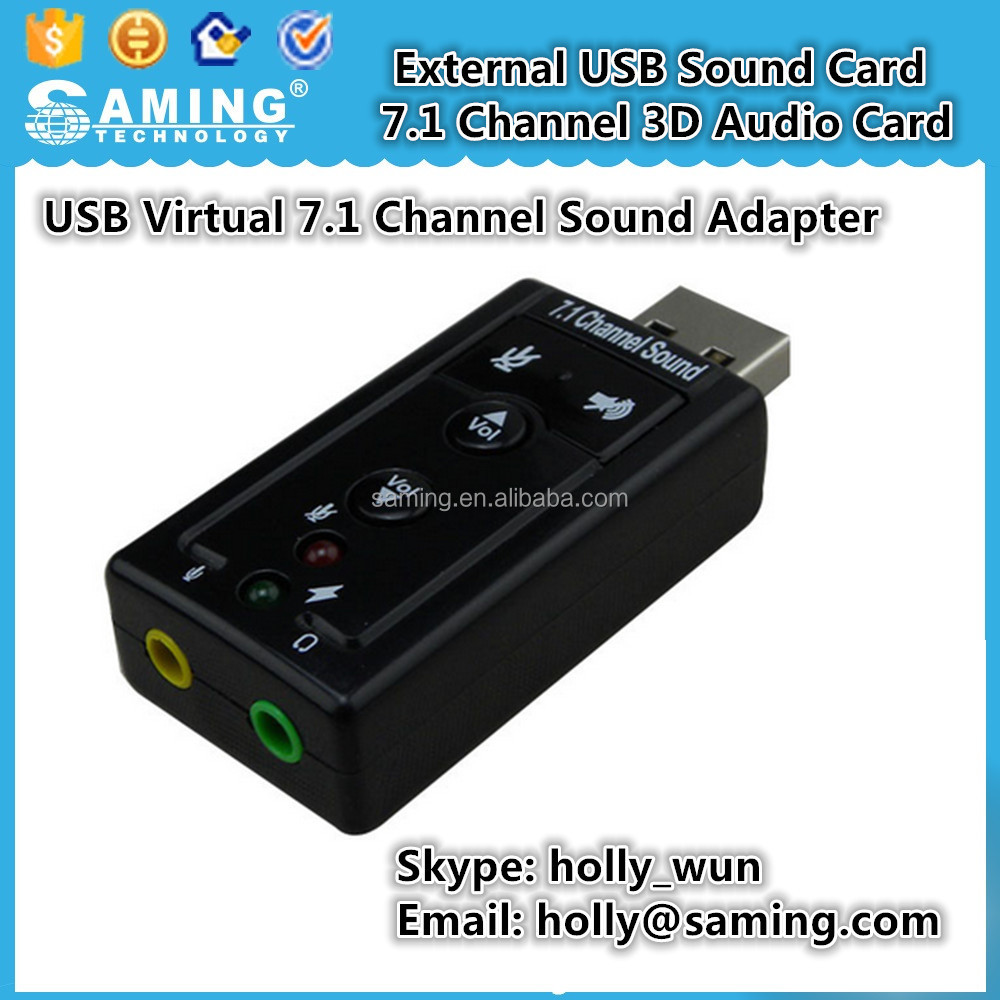 External USB Sound Card 7.1 Channel 3D Audio Card Mic Adapter 3.5mm Jack Stereo Headset For Win XP 7 8 Linux for Mac OS