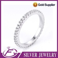 Simple design aaa cz stone 925 sterling silver korean style thin ring