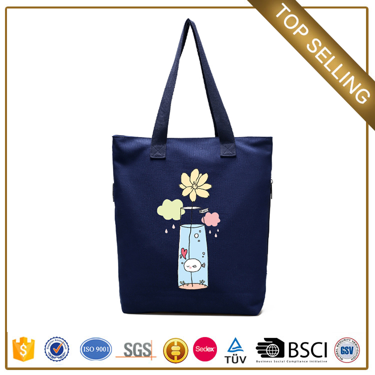 Chinese online supplier customize canvas shopping bags with zipper for young women