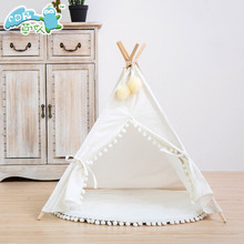Pets Supplies Canvas Indian Tents Nature Wooden Cat House Dog Pet Tent Teepee
