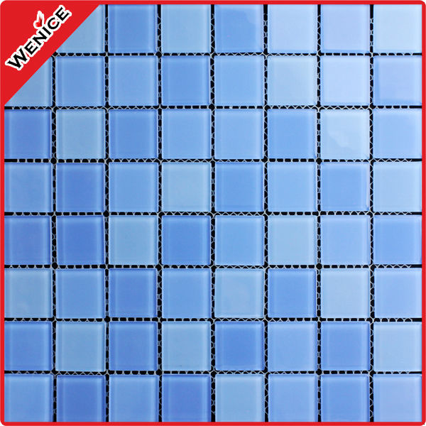 blue mosaic pattern swimming pool glass tile square 25x25