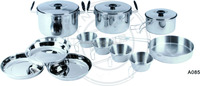 hot metal travel cooking set for 4 people with 3 pot