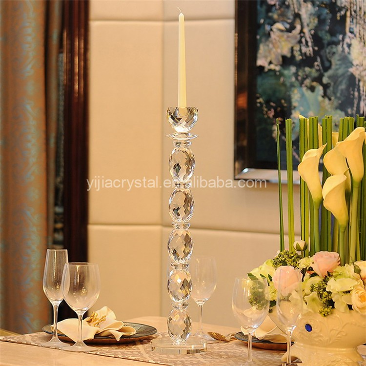Marriage Decoration Single Arm Crystal Glass Candle Holder For Weddings