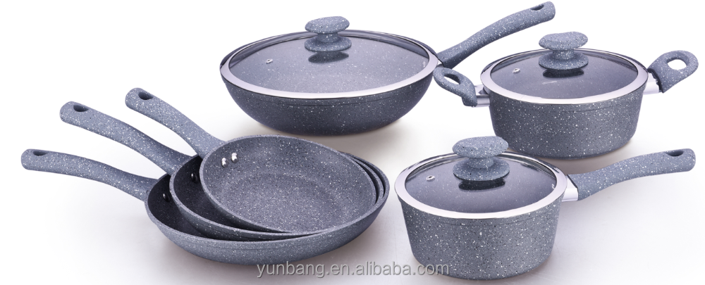 forged aluminum 9pcs set marble coating cookware set