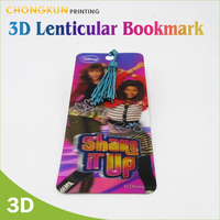 Fancy 3D flip PP plastic bookmarks with animal picture