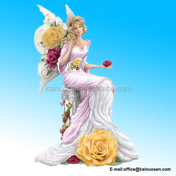 Resin Winged Rose Lady Figurine in the Style of Fine English Rose-Patterned