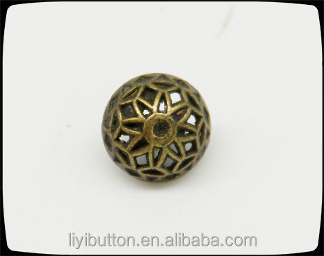 bronze mushroom hollow zinc alloy sewing button with high quality for garment