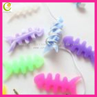Best fashionable silicone rubber fish bone earphone cord cable winder
