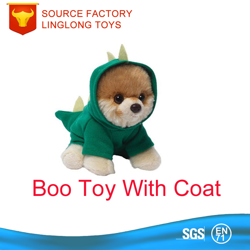 Customize 25CM Plush Cartoon Boo Dog Pomeranian Toy Hoodie Stuffed Green Dog Puppy With Coat Toy