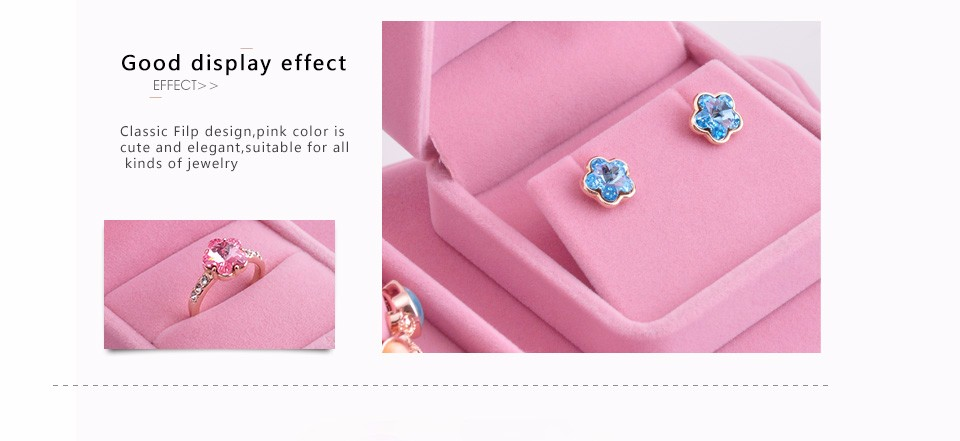 FANXI Wholesale Custom Jewelry Gift Box Pink Velvet Earrings Ring Bracelet Necklace Package Box Jewelry Box Manufacturers China