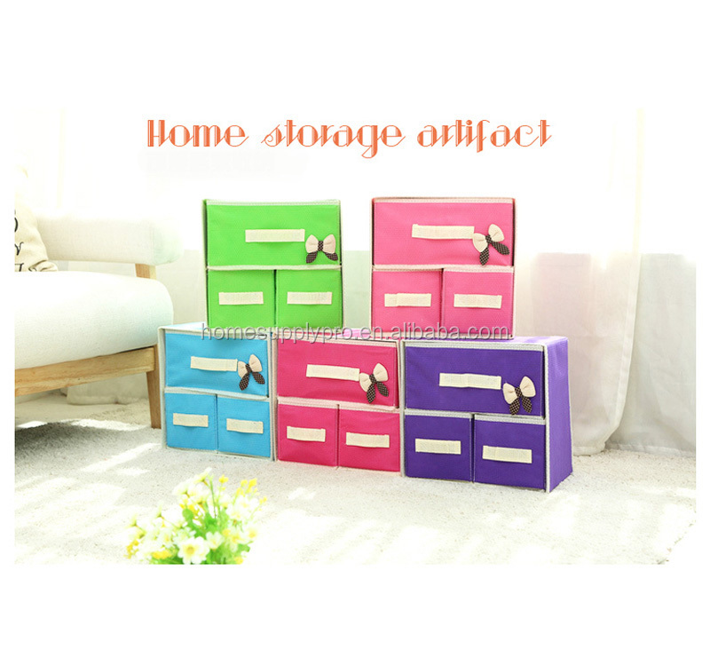 Hot sale printed good quality pretty 3 lattices storage boxes
