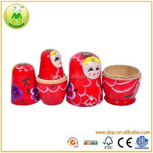 7pc Babushka Wooden Stacking Nesting Doll Red Russian Matryoshka