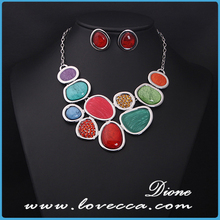 Colorful crystal necklace bridal wedding jewlery sets wholesale best price
