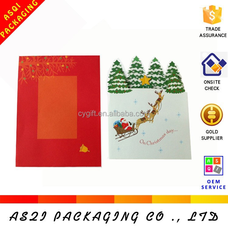 custom hot sale 3d christmas tree paper greeting card