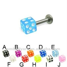 Titanium labret with dice hot sale body jewelry-SMLR064