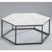 Modern living room table Wood and metal marble grain coffee Table occasional table in hexagon shape