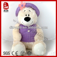 New design kid gift toy 2014 import for toy wholesale stuffed dressed lady teddy bear with hat and cloth plush toy teddy bear