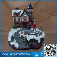 Home decoration village figurine resin Christmas house sculpture
