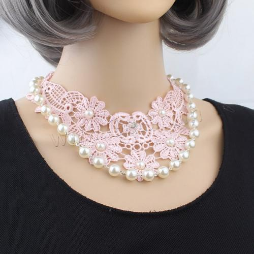 chockers lace pearls and rhinestone Fashion Choker Necklace with Glass Pearl & Zinc Alloy platinum color Length:Approx 12 Inch