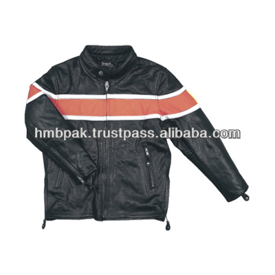 Orange Black Coat Leather Jacket Kids Size