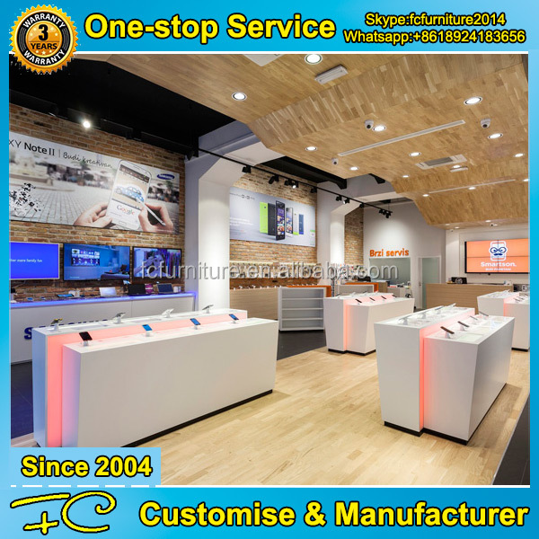 Latest design shop counter for wooden mobile phone display stand