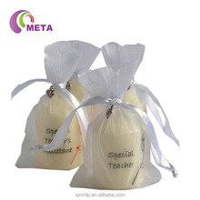 Wholesale Small Custom Flat Bottom White Organza Fabric Gift Bag