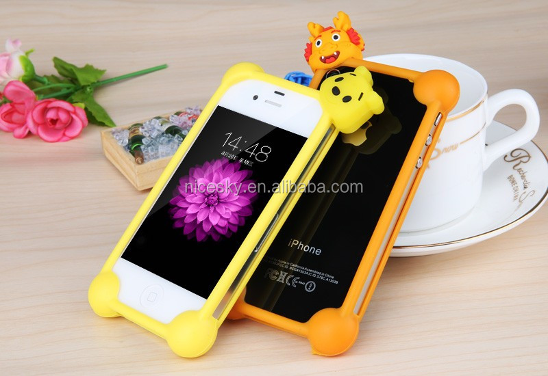 NEW Universal Cute Cartoon Silicone Frame Case For Apple Samsung HTC Various Phones