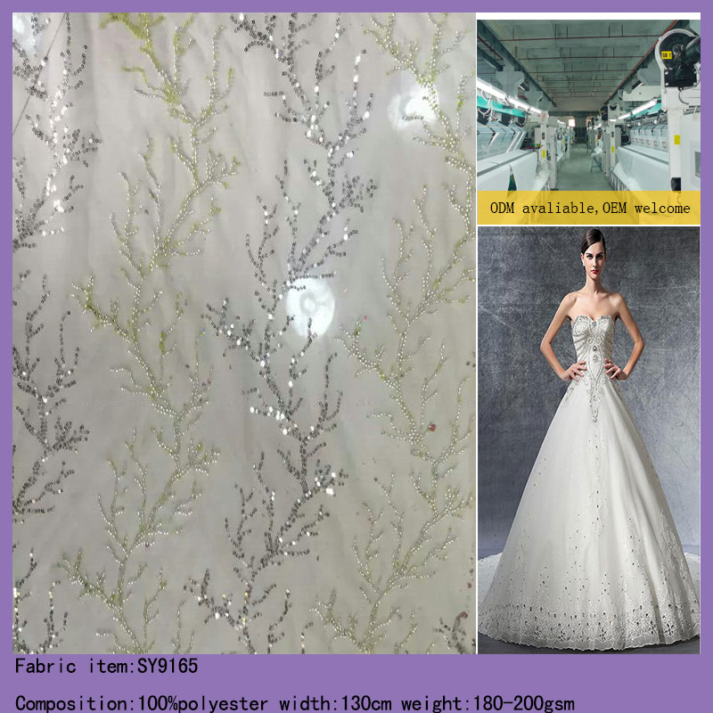 Sequins Embroidered Tulle French Lace Fabric For Wedding Dress