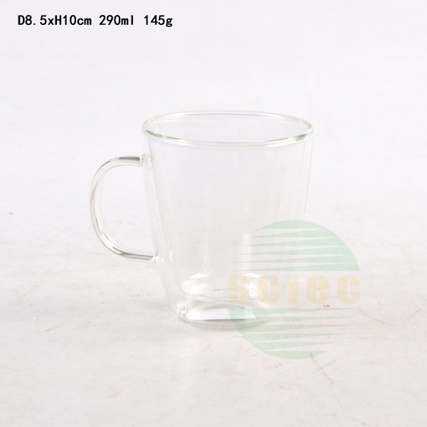 whole sale 290ml high borosilicate glass jar double wall cup